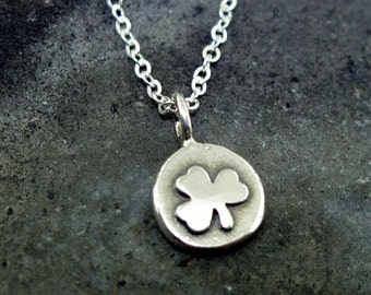 Shamrock Necklace, sterling silver lucky clover charm necklace by Kathryn Riechert