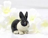 Black White Dutch Bunny Rabbit Necklace Oreo - Bunny Necklace - Rabbit Jewelry
