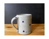 Coffee mug polka dot cups - pottery ceramic mug gray grey with blue polka dots - handmade gift for coworker gift for teacher