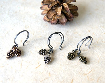 Pine Cone Earrings - Pinecone Earrings - Antiqued Silver, Brass or Copper Pine Cone Earrings - Woodland Wedding - Nature Inspired