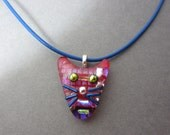 Fused glass cat pendant Red dichroic glass jewelry cat face pendant blue whiskers kitty jewelry 20 inch blue leather cord necklace