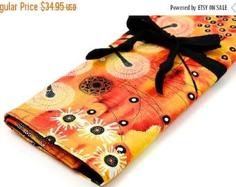 Sale 25% OFF Large Knitting Needle Case - Bellflower Orange - 30 black pockets for straight, circular, double point needles or paint brushes