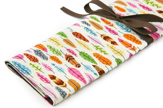 Large Knitting Needle Case - Feathers - 30 brown pockets for all size needles or paint brushes
