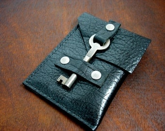 Leather Business Card Holder with Vintage Key Closure - Business Card Case - Black Leather Card Wallet
