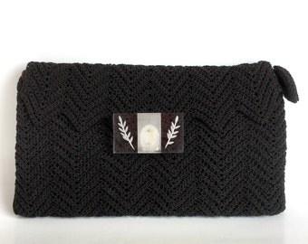 Brown Clutch Corde Purse - Clear Lucite Clasp, Reverse Carved Leaves - Dark Brown Almost Black Vintage 40s Envelope Handbag, Zig Zag Pattern