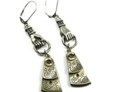 SALE Steampunk Earrings with Victorian Figa HANDS Holding Highly Detailed Pocket Watch Regulators in Silver by Nouveau Motley