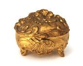 Antique Art Nouveau Trinket Ring Box Ormolu with Floral Design Jewelry Casket CIRCA 1910