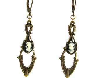 Art Deco Style Steampunk Earrings in Brass with Black and Cream Cameos by Nouveau Motley