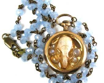OSSUARY RELIC Steampunk Skull Necklace Genuine Mouse Skull Blue Chalcedony Glass Rosary Chain One of a Kind ONLY from Nouveau Motley