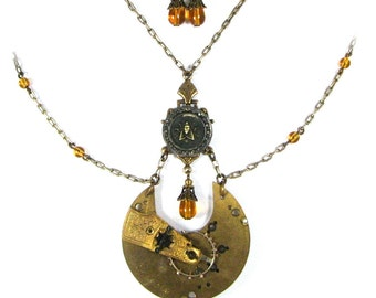 HONEY DROP Steampunk Lavalier Necklace and Earrings Parure with Antique Pocket Watch and Circa 1880 BEE Picture Button by Nouveau Motley