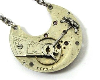 "CLEARANCE 50% OFF The Original ""Steam Relic"" Steampunk Necklace Antique Victorian Pocket Watch Exposed Gears  Engraved Details Silver"