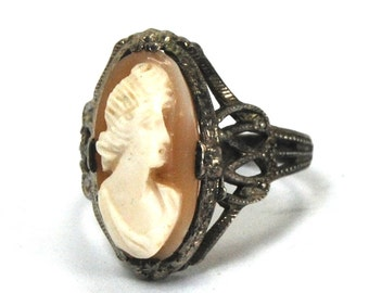 Antique Art Deco Cameo Filigree Ring in Sterling Silver with Hand Carved Shell Cameo Flower Blossoms Size 6 Circa 1920