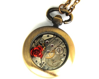 Petite Steampunk Pocket Watch Necklace with Rose Petite in Brass by Nouveau Motley