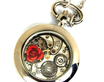 Petite Steampunk Pocket Watch Necklace with Rose in Silver by Nouveau Motley