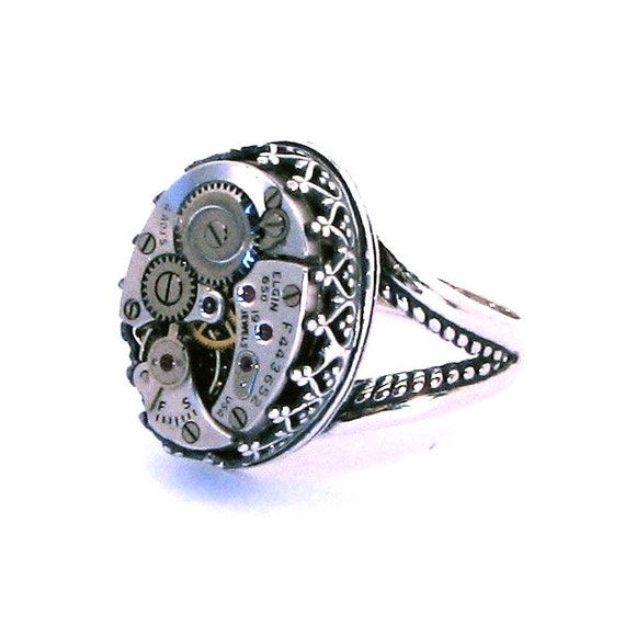 Steampunk Clockwork Ring SOLID STERLING Silver with Crown Set Vintage Watch Movement Size 7