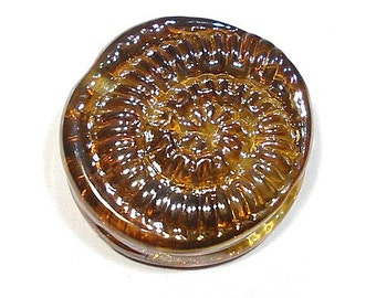 Handmade Lampwork Glass Bead, Ammonite in Lustre, Tabular Bead, Lampwork Focal