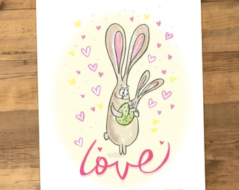 Bunny Rabbit Nursery Print for Kids Room sweet woodland theme pink yellow green for little girl or boy parent and baby together