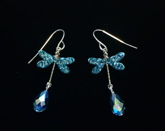 Dragonfly Earrings Aquamarine AB Crystal