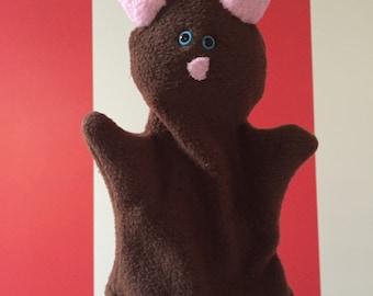 Brown Cat Glove Puppet, Kitten Hand Puppet, Therapy Puppet, Imaginative Play, Creativity, Preschooler, Machine Washable, Vegan Kitty Toy