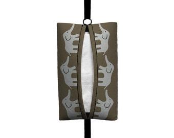 Auto Sneeze - Elephants - Visor Tissue Case/Cozy - Car Accessory Automobile - Taupe Grey Baby Elephant