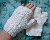 "Sparkle White 6"" Cable Fingerless Gloves Texting Hand Warmers USA Gift  FREE SHIPPING"