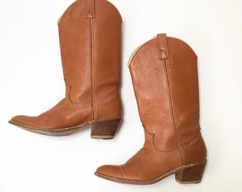 Vtg Dingo Western Boots 8 M Brown Leather