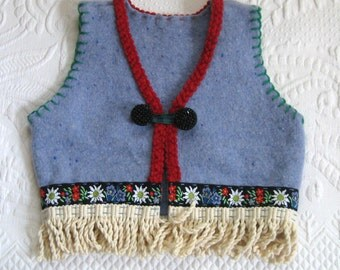 Folk Vest / Funky Vest made from Recycled Sweaters SYLVIA 484 / Alpine Wool Vest
