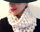 Chunky alpaca cream cowl ready to ship