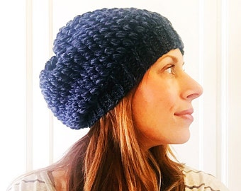 Slouchy blue twist puff stitch crochet hat wool blend