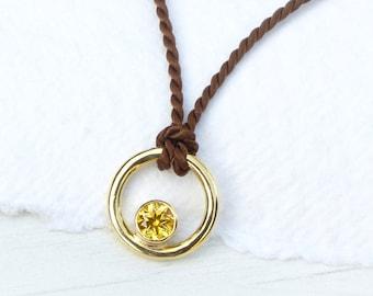 Yellow Sapphire Circle Pendant, 18ct Gold, Natural Silk Cord, Eco Friendly and Fair Trade