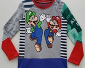 Size 6(45 3/4 inch) Upcycled Boys long sleeve tee shirt Mario Brothers