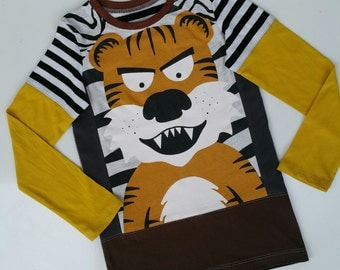 Size 6+(48 inch) Upcycled Boys long sleeve tee shirt tiger