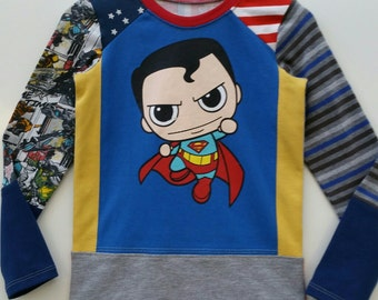 Size 3T (38 1/2 inch) Upcycled Boys long sleeve tee shirt Super boy