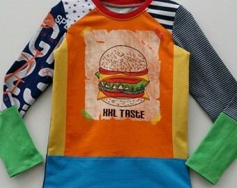 Size 4T(40 inch) Upcycled Boys long sleeve tee shirt hamburger