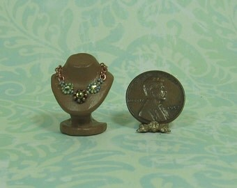 Dollhouse Miniature Green & Copper Necklace on Display Stand
