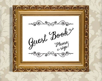 GUEST BOOK Fancy Wedding Reception Sign - Instant Graphic Digital Download - You Print - 2 sizes, 4 files included
