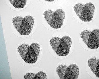 "Thumbprint Heart Wedding / Valentine Sticker Seal - 1"" One Inch Round Sticker Envelope Seals - B&W, Sheets of 15 - by Blossom Arts"