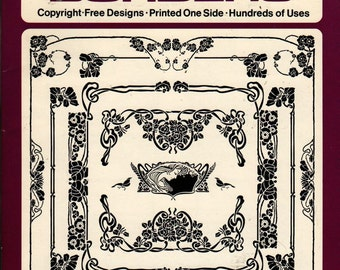 Ready-To-Use Art Nouveau Borders- Ted Menten - 1983 - Vintage  Craft Book