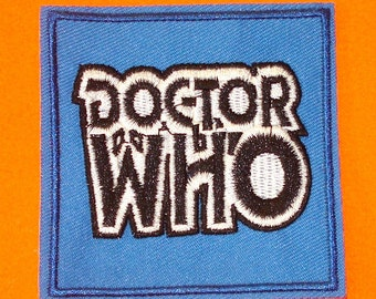 Doctor Who Blue DW Original Series Logo BBC Black and White Iron or Sew On Patch