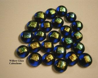 Dichroic Glass Cabochons, 24 Cobalt Blue Dichroic Dots Glass Cabs, Glass Cabochons by Willow Glass