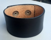 """Black Leather Cuff Wristand Bracelet, 1 1/4"""" Wide by Shaterra"""