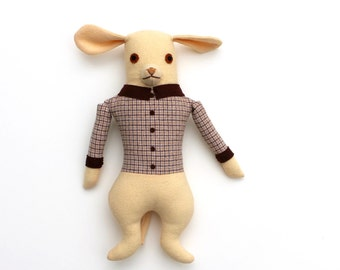 Yellow Dog Boy in Plaid doll plush wool