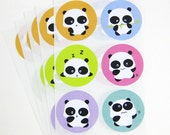 Panda Stickers. 30 labels 1.5 inch circle. Baby Shower. Birthday Party.