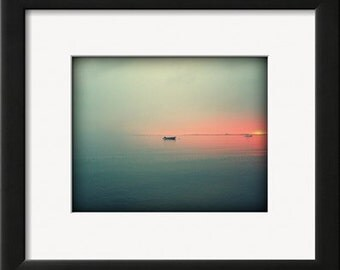 Cape Cod Bay, Sunset, Photograph, 8x10, Metallic Print, Seaside Art