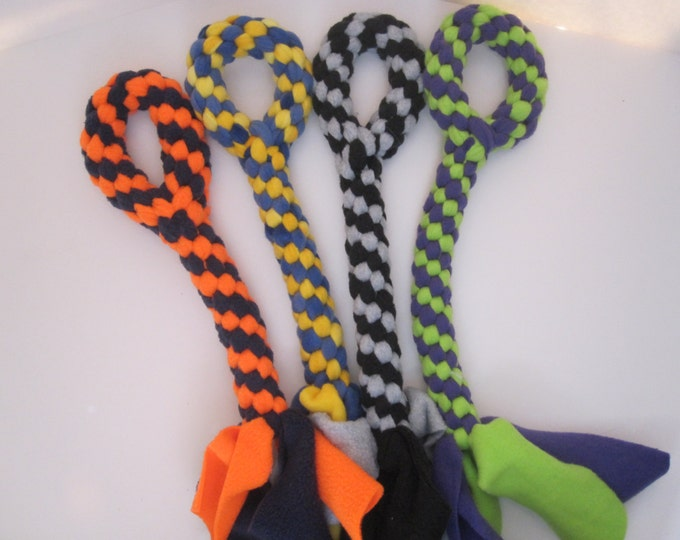 Large Fleece rope Tugs Toy Chew with handle dogs