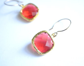 The Josie- Red Crystal and Gold Earrings