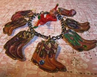 Cowboy Boot Charm Bracelet Cowgirl Country Western Square Dance Kitsch