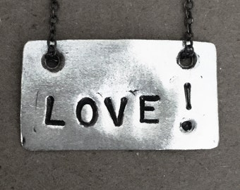 LOVE! tag necklace