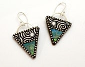 Sterling silver dangle triangle Iridescent polymer earrings sterling silver beads black white circles sterling ear wires faux wood