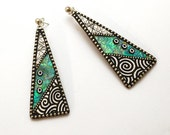 Sterling silver long dangle triangle Iridescent polymer earrings sterling silver beads black white circles sterling posts faux wood